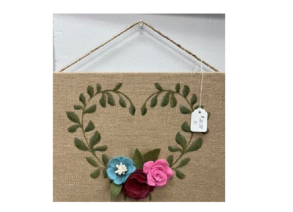 HEART BURLAP WALL ART