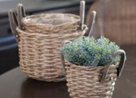 GRAY BASKET SET WITH LINERS