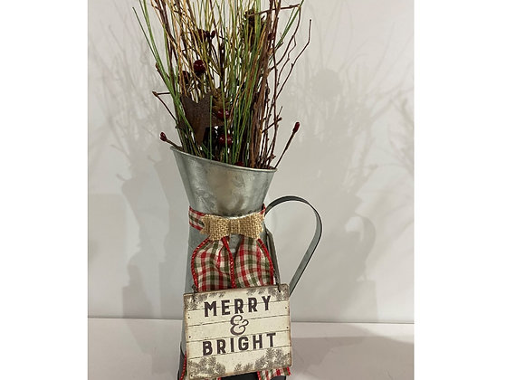 MERRY/BRIGHT TIN SPRIG BERRY FLORAL