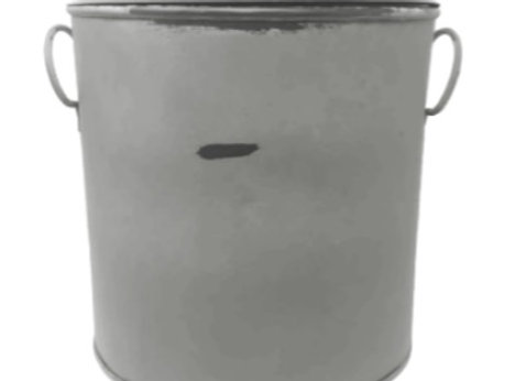 LARGE GRAY DISTRESSED CANISTER