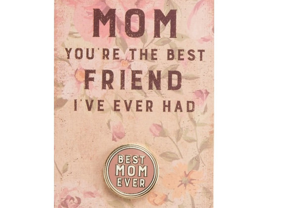 MOTHER BEST FRIEND PIN ON CARD