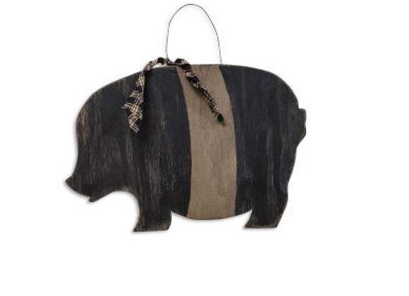 PRIMITIVE WOOD PIG WALL HANGING