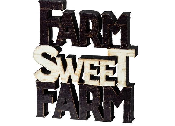 FARM SWEET FARM CHUNK SITTER OR WALL HANGING