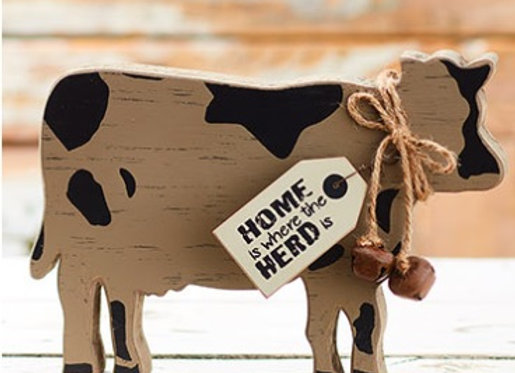 FARMHOUSE COW FREE STANDING BLOCK
