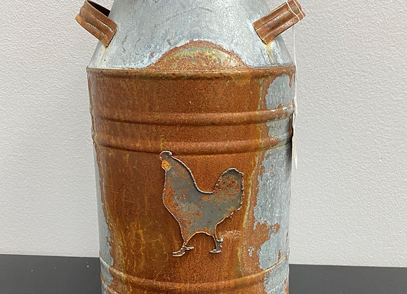 RUSTIC TIN ROOSTER MILK CAN