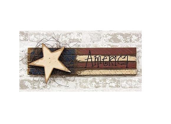 LATH AMERICAN WOOD FLAG