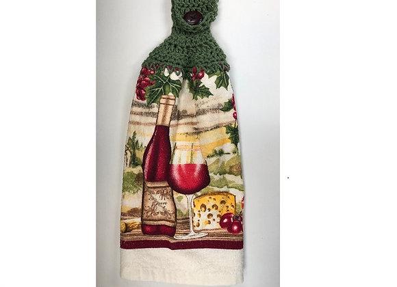 WINE CROCHET TOP DISH TOWEL