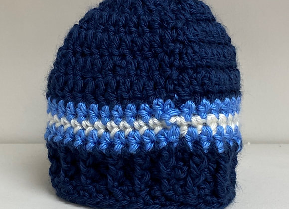 CROCHET BLUE STRIPE HAT NEWBORN