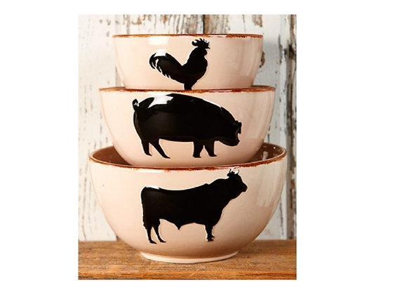 FARM ANIMAL BOWL SET