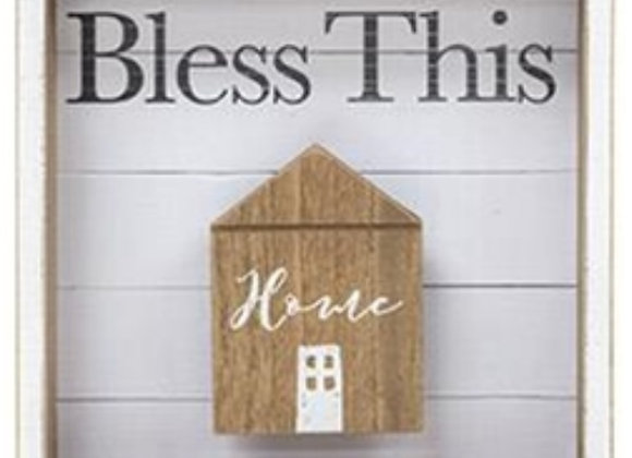 BLESS THIS HOME SHADOW BOX SIGN