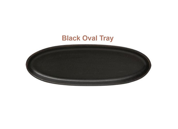 BLACK OVAL WOOD TRAY