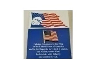 USA FLAG ON PLEDGE OF ALLEGIANCE CARD