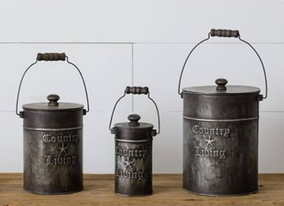 COUNTRY LIVING CANISTERS WITH LIDS (SET OF 3)