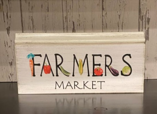 FARMERS MARKET GRAPHIC WOOD SIGN