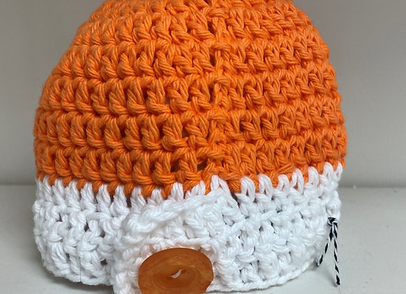 CROCHET HAT ORANGE SIZE 0-3 MONTHS