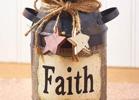 DECORATIVE FAITH MILK CAN