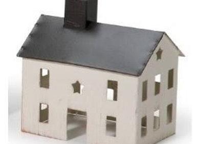 PRIMITIVE WHITE METAL SALTBOX HOUSE