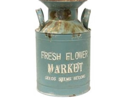 COUNTRY BLUE FLOWER MARKET MILK CAN