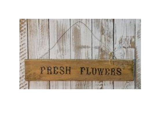 FRESH FLOWER YELLOW WOOD SIGN