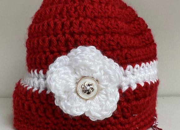 CROCHET HAT RED/FLOWER SIZE 6-9 MONTHS