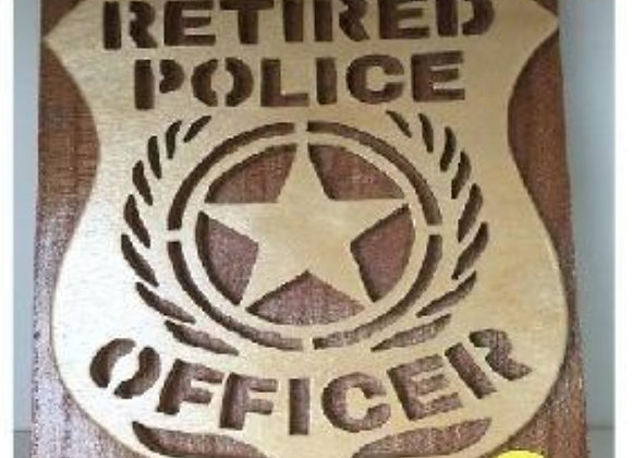 RETIRED POLICE WOOD PLAQUE WALL ART