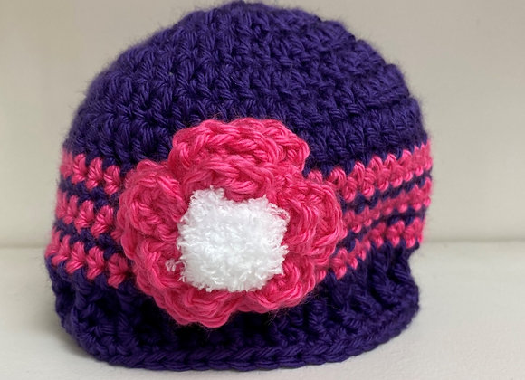 CROCHET HAT PURPLESIZE 3-6 MONTHS