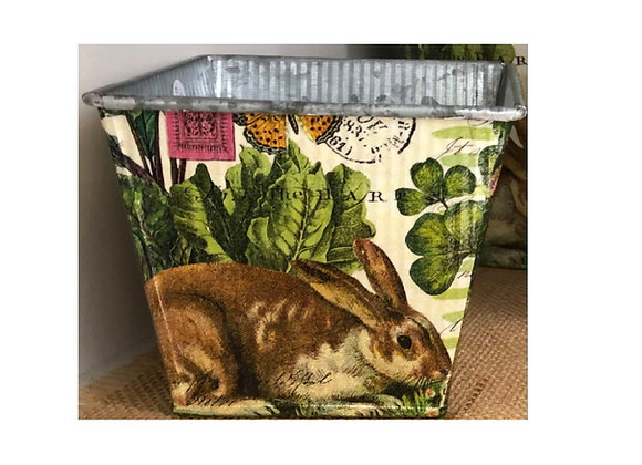 DECOUPAGE SQUARE BUNNY POT