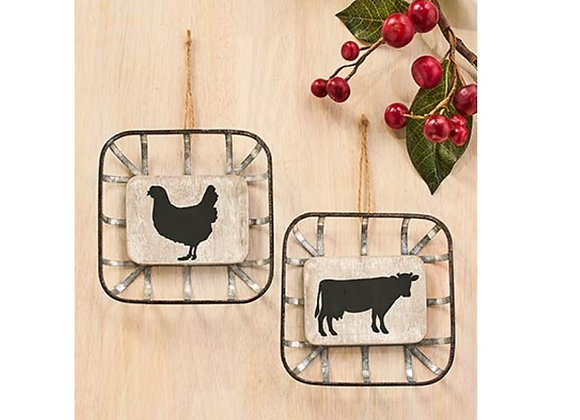 FARMHOUSE BASKET ORNAMENT SET