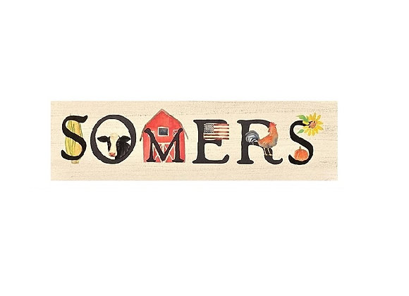 SOMERS TOWN WOOD SIGN