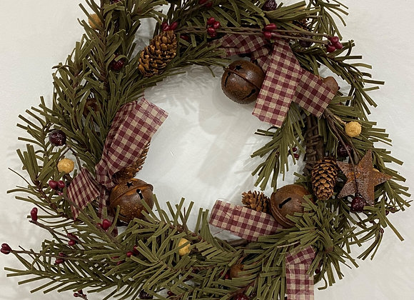 PLAID/BELLS WREATH MEDIUM