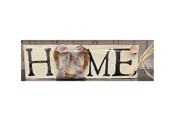 HOME HEART WREATH SIGN