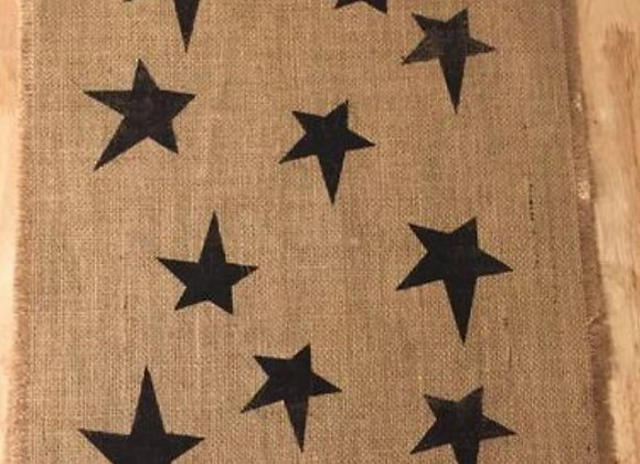 PRIMITIVE STAR BURLAP RUNNER