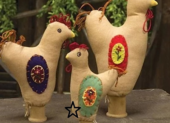 SMALL SPOOL ROOSTER DECOR