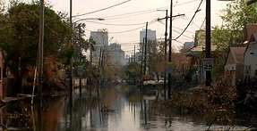 """A flooded street after Hurricane Katrina from Brent Joseph's documentary """"Holdout"""""""