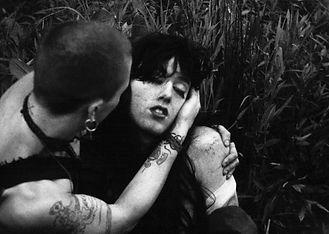 "A black and white still from Brent Joseph's film ""Bullfrogs"""