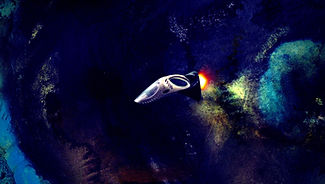 """A dustbuster spaceship flies through the cosmos in the film """"Mirza the Miraculous"""" by Brent Joseph"""
