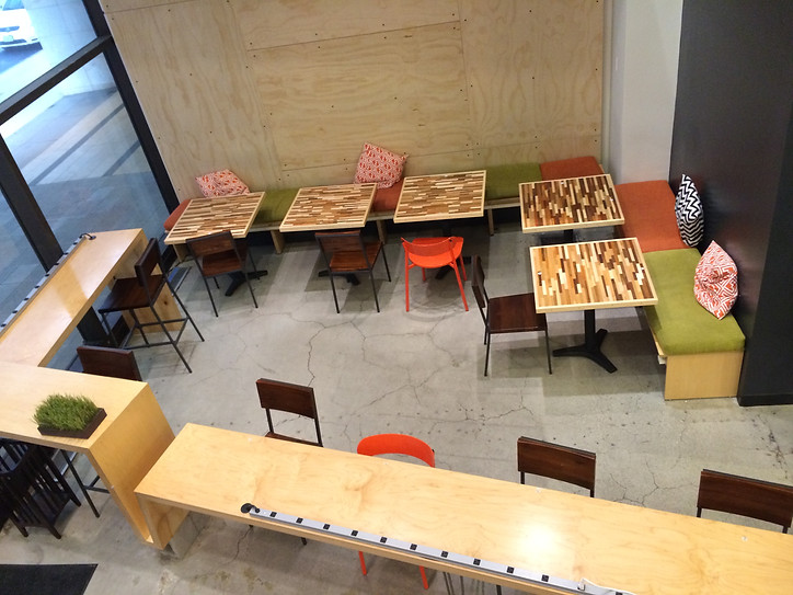 Top view of the Workshop Cafe's front room furniture layout