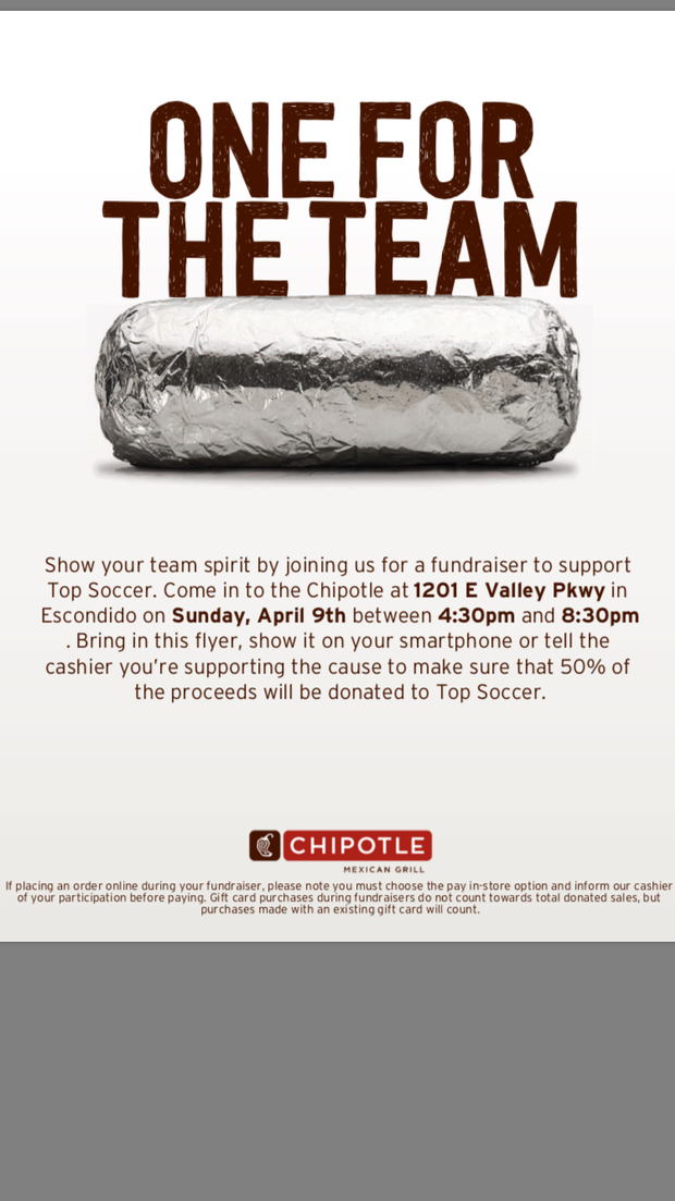 Chipotle Fundraiser For Valley Center TOPSoccer