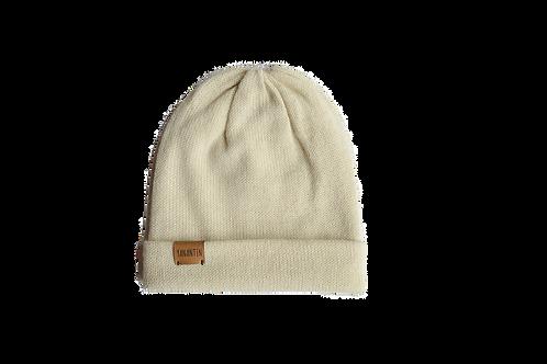Knitted Hat 100% Alpaca Wool Vanilla White