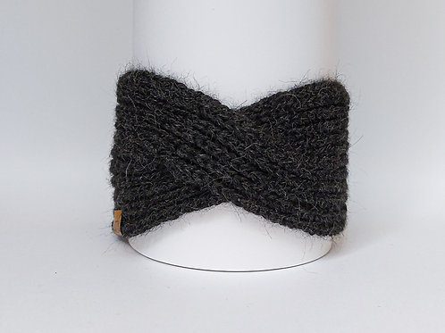 Knitted Headband 100% Alpaca Wool Stormy Night Grey