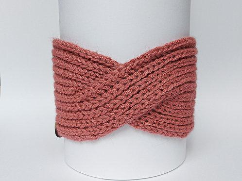 Knitted Headband 100% Alpaca Wool Old Roses