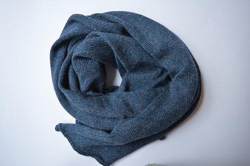 Large Scarf 100% Alpaca Wool Blue Steel