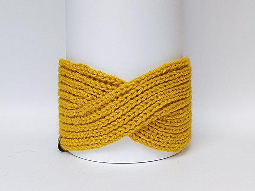 Knitted Headband 100% Alpaca Wool Sunny Ocre