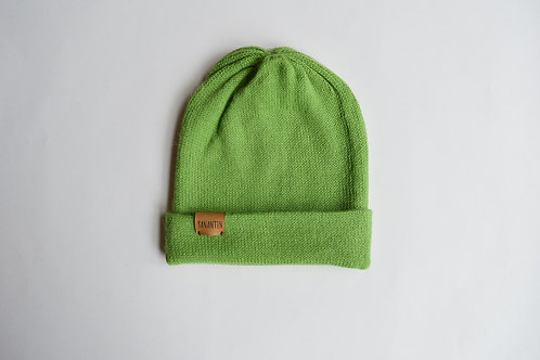 (Reversible) Hat 100% Alpaca Wool Grasshopper Green