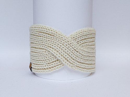 Knitted Headband 100% Alpaca Wool Vanilla White