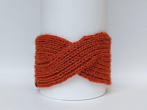 Knitted Headband 100% Alpaca Wool Rusty Orange