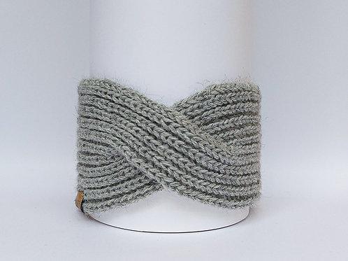 Knitted Headband 100% Alpaca Wool Silvery Grey