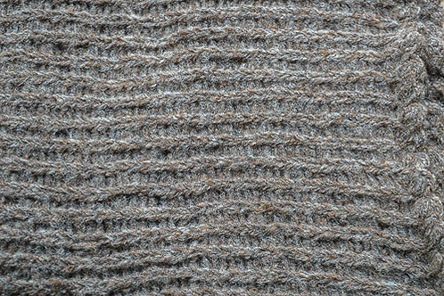 Champagne Fluffy Knitted Scarf of Baby Alpaca and Merino Wool Blend: Close Up