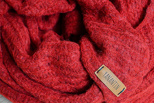 Red Fluffy Knitted Scarf of Baby Alpaca and Merino Wool Blend