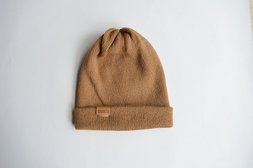 (Reversible) Hat 100% Alpaca Wool Classy Camel